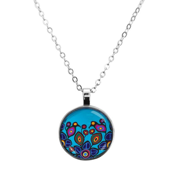 Flowers and Birds Silver Dome Necklace