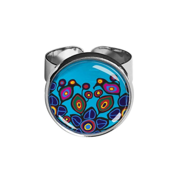 Flowers and Birds Silver Ring