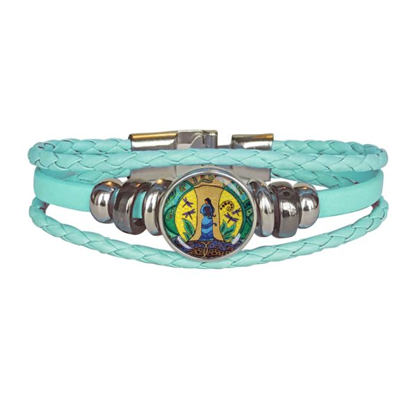 Teal Leatherette Three Loop Bracelet with Strong Earth Woman Design