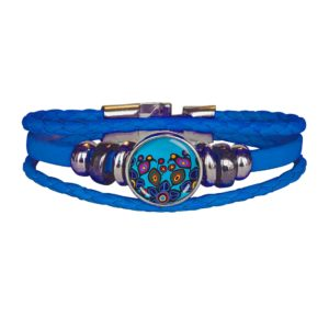 Blue Leatherette Three Loop Bracelet with Flowers and Birds Design