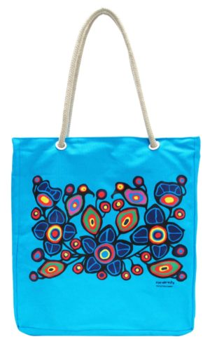 Blue bag with Flowers and Birds artwork