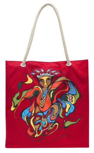 Red bag with Pow Wow Dancer artwork