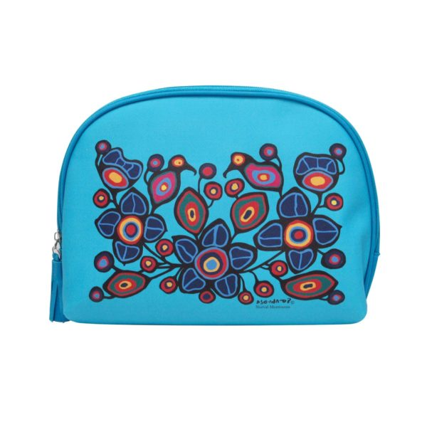 Blue Flower and Bird Cosmetic Bag Large
