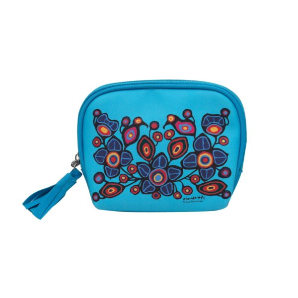Blue Flower and Bird Cosmetic Bag Small