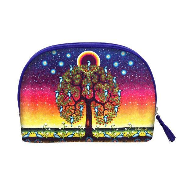 Blue and Orange Tree of Life Cosmetic Bag Large