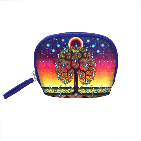 Blue and Orange Tree of Life Cosmetic Bag Small