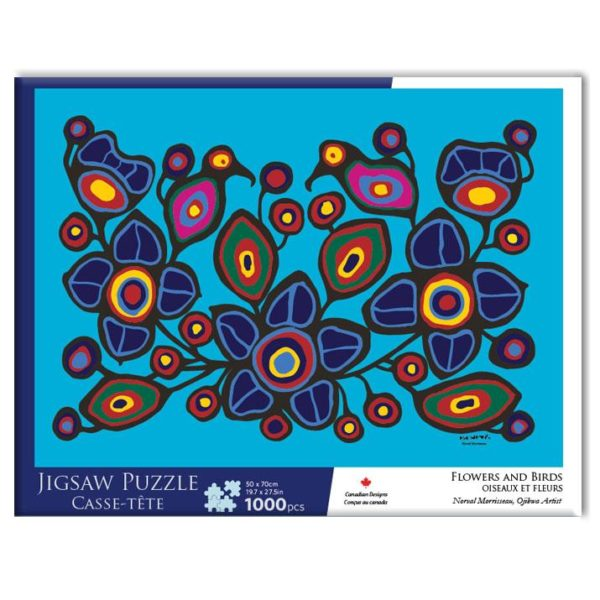 Blue Flowers and Birds design Jigsaw Puzzle