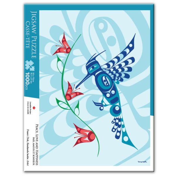 Light blue Hummingbird, Peace Love and Happiness Design Jigsaw Puzzle