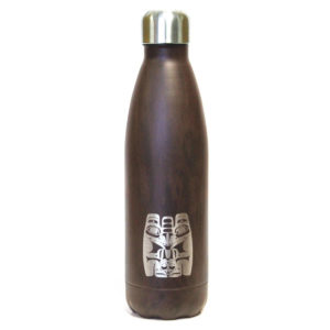 Dark Wood grain insulated water bottle with Bear totem design.