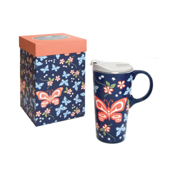 Navy and peach Butterfly and Wildrose Perfect Mug next to matching packaging box.