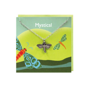 """""""Mystical"""" Green Greeting Card with Pewter Dragonfly Charm"""