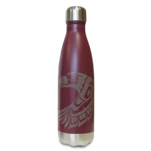 Burgundy insulated water bottle with Eagle totem design.