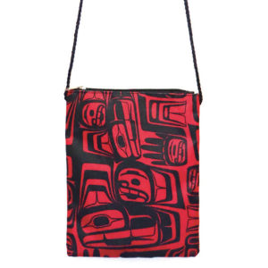 Black and Red Rectangular Crossbody bag with Eagle Crest design