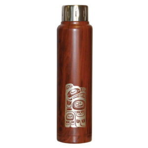 Dark Red/Brown Wood Grain insulated bottle with engraved Eagle Totem artwork.