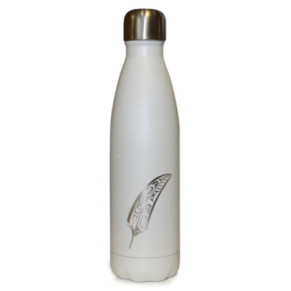 White insulated water bottle with engraved feather totem design.