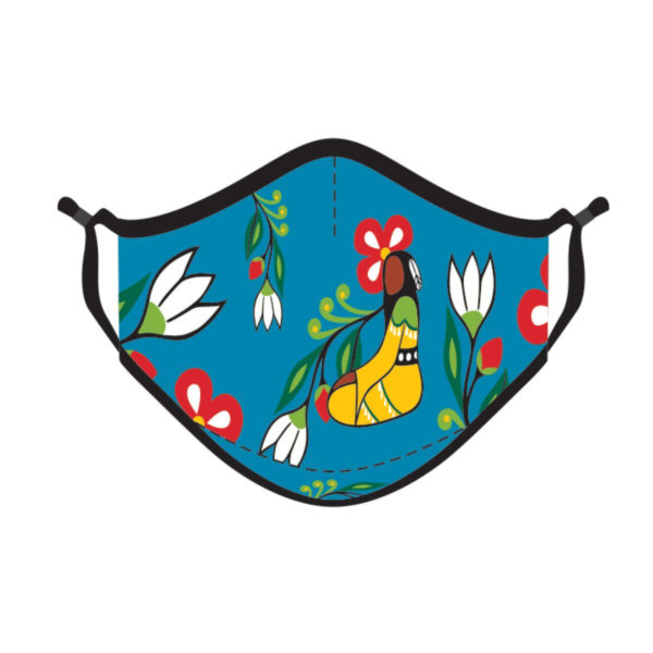 Blue mask with flowers and yellow Her Jingle Dress artwork.
