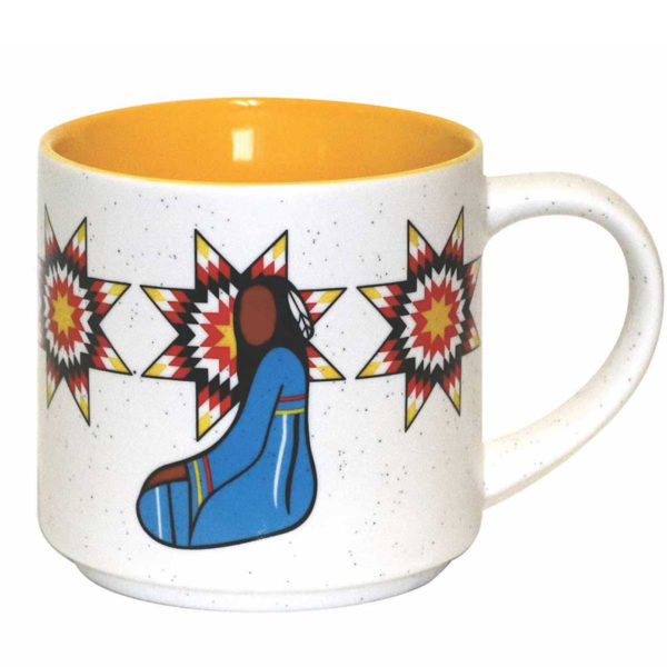 White speckled ceramic with yellow interior. Yellow, red and blue Indigenous Her Ribbon Dress design.