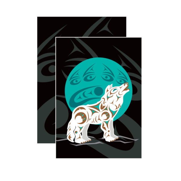 Black, Teal, and White Howling Wolf Notebook
