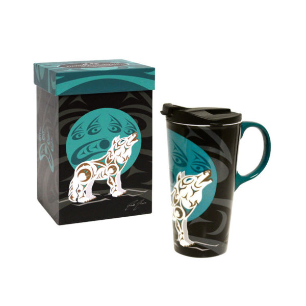 Black, white, and blue Howling Wolf Perfect Mug next to matching packaging box.