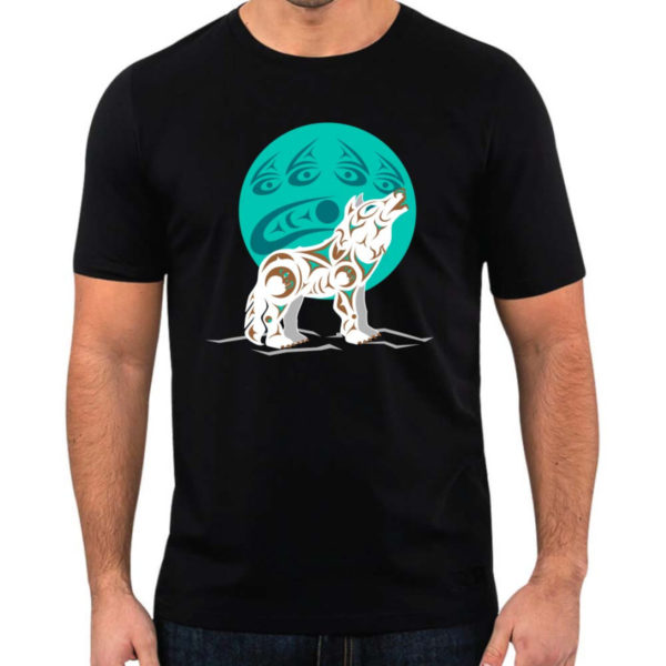 Black T-Shirt with White and Teal Indigenous Howling Wolf Artwork