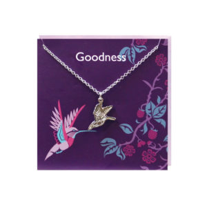 """""""Goodness"""" Purple Greeting Card with Pewter Hummingbird Charm"""