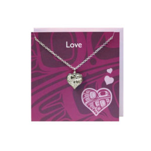 """""""Love"""" Pink Greeting Card with Pewter Hummingbird Heart Charm"""