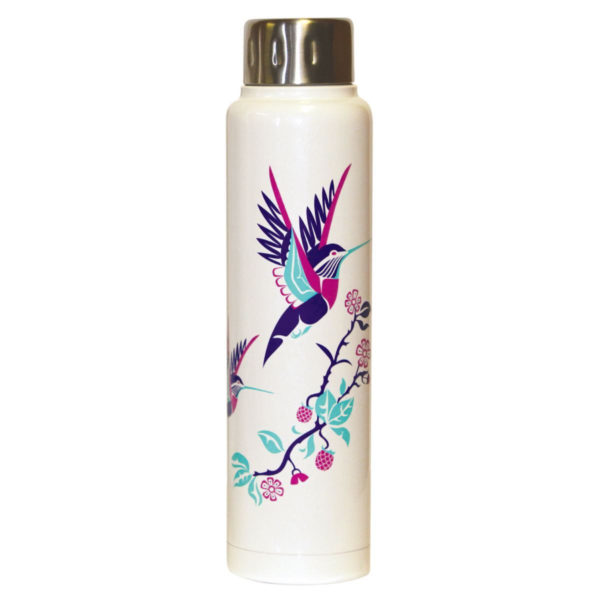 White with bright blue, purple and pink Hummingbird art work on an insulated bottle.