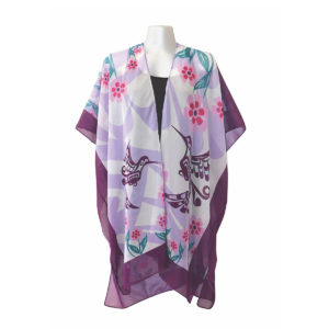 Purple and white sheer fabric wrap, front