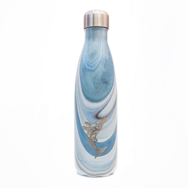 Light blue marble insulated water bottle with humpback whale totem design.