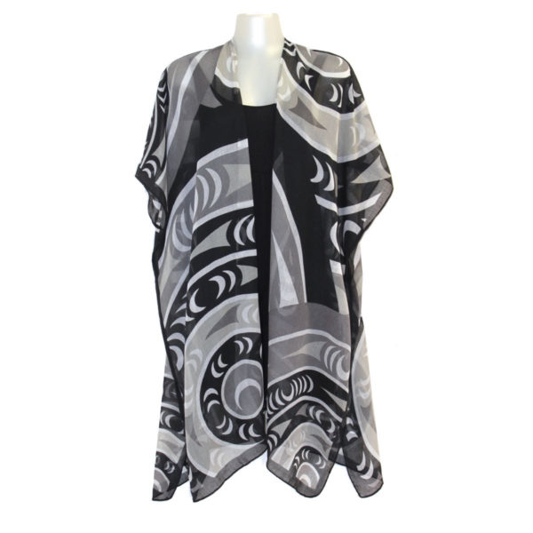 Black and White sheer fabric wrap, Front
