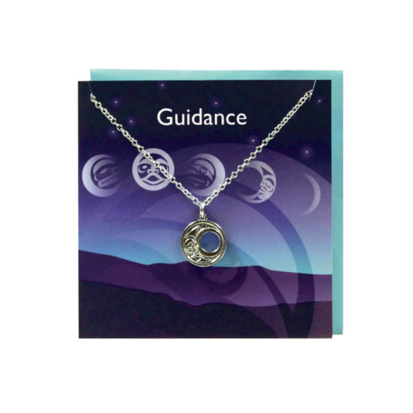 """""""Guidance"""" Dark Purple Greeting Card with Pewter Crescent Moon Charm"""