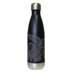 Black insulated water bottle with Raven totem design.