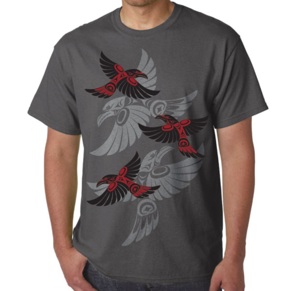 Charcoal T-Shirt with grey and red Indigenous Flying Raven Artwork
