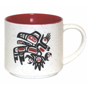 White speckled ceramic with red interior. Black and red Indigenous Running Raven design.