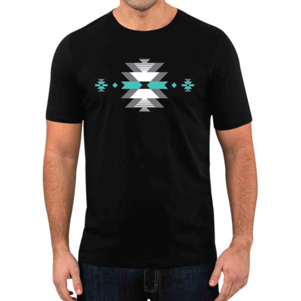 Black T-Shirt with white, grey, and teal Indigenous Salish Weaving Artwork