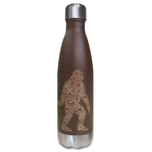 Brown insulated water bottle with Sasquatch totem design.