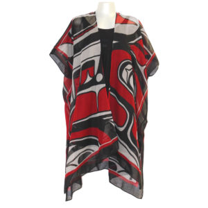 """Red, Black, and white """"Sgaan"""" (whale) Design fashion wrap, front"""