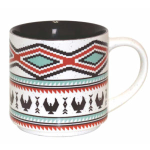 White speckled ceramic with black interior. Black, red, and blue Indigenous Spirit of the Sky design.