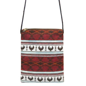 Spirit of the Sky Woven crossbody bag. Red and white with eagle motif.