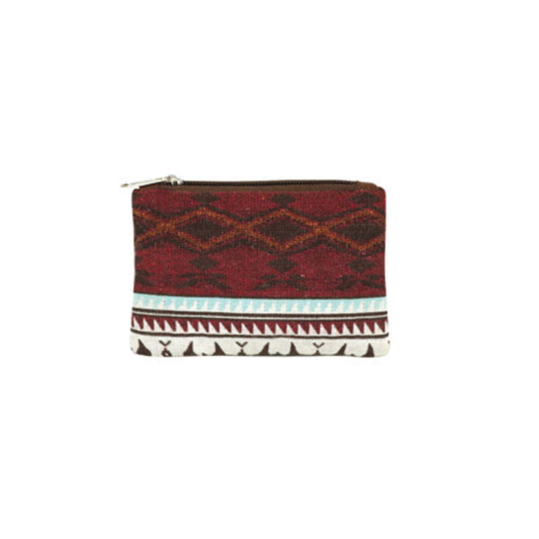 Spirit of the Sky Woven zipper pouch. Red and white with eagle motif.