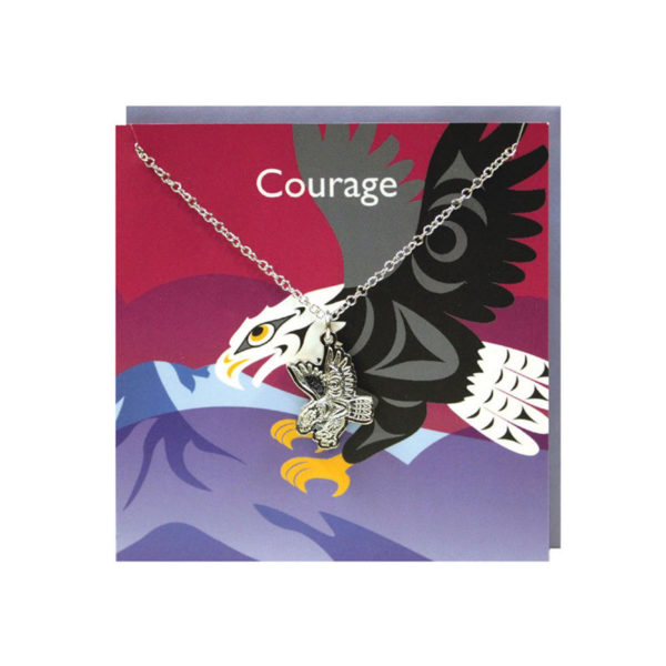 """""""Courage"""" Red Greeting Card with Pewter Eagle Charm"""