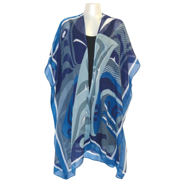 """Blue and Grey """"The Pod"""" Design fashion wrap, front"""