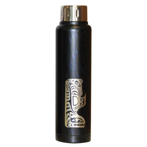 Dark blue grain insulated bottle with engraved Thunderbird and Whale Totem artwork.