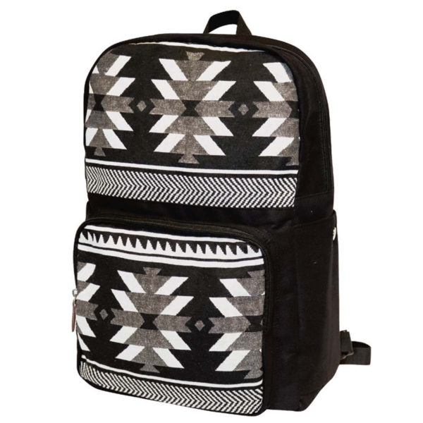 Visions of our Ancestors woven backpack. Black, white, and grey geometric.