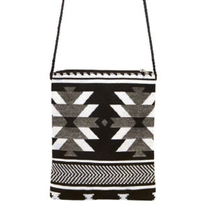 Black and White Rectangular Crossbody bag with Visions of our Ancestors design