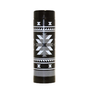 Black and white Visions of our Ancestors artwork on an insulated tumbler with matching lid.