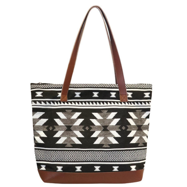 Visions of our Ancestors woven tote bag. Black, white, and grey geometric.
