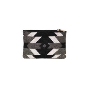 Visions of our Ancestors woven zipper pouch. Black, white, and grey geometric.
