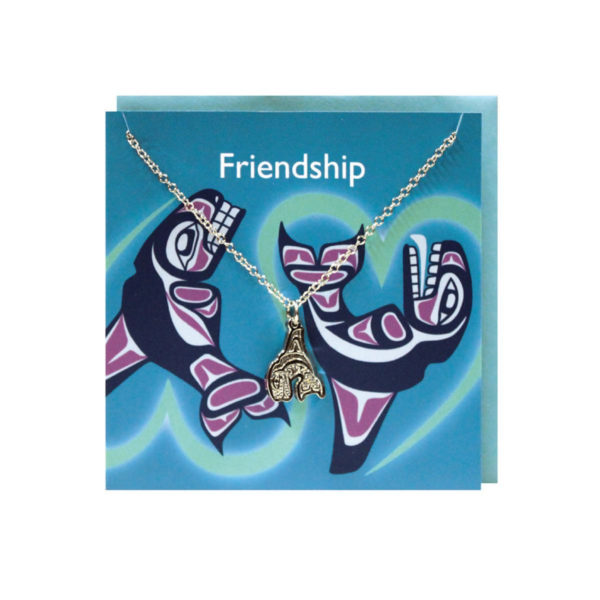 """""""Friendship"""" Blue Greeting Card with Pewter Whale Charm"""
