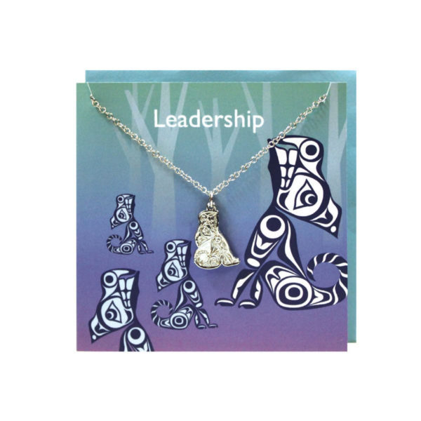 """""""Leadership"""" Light Green and purple Greeting Card with Pewter Wolf Charm"""